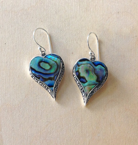 Abalone Filigree Heart Earrings