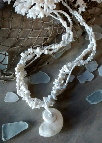 White Wedding Shell Necklace
