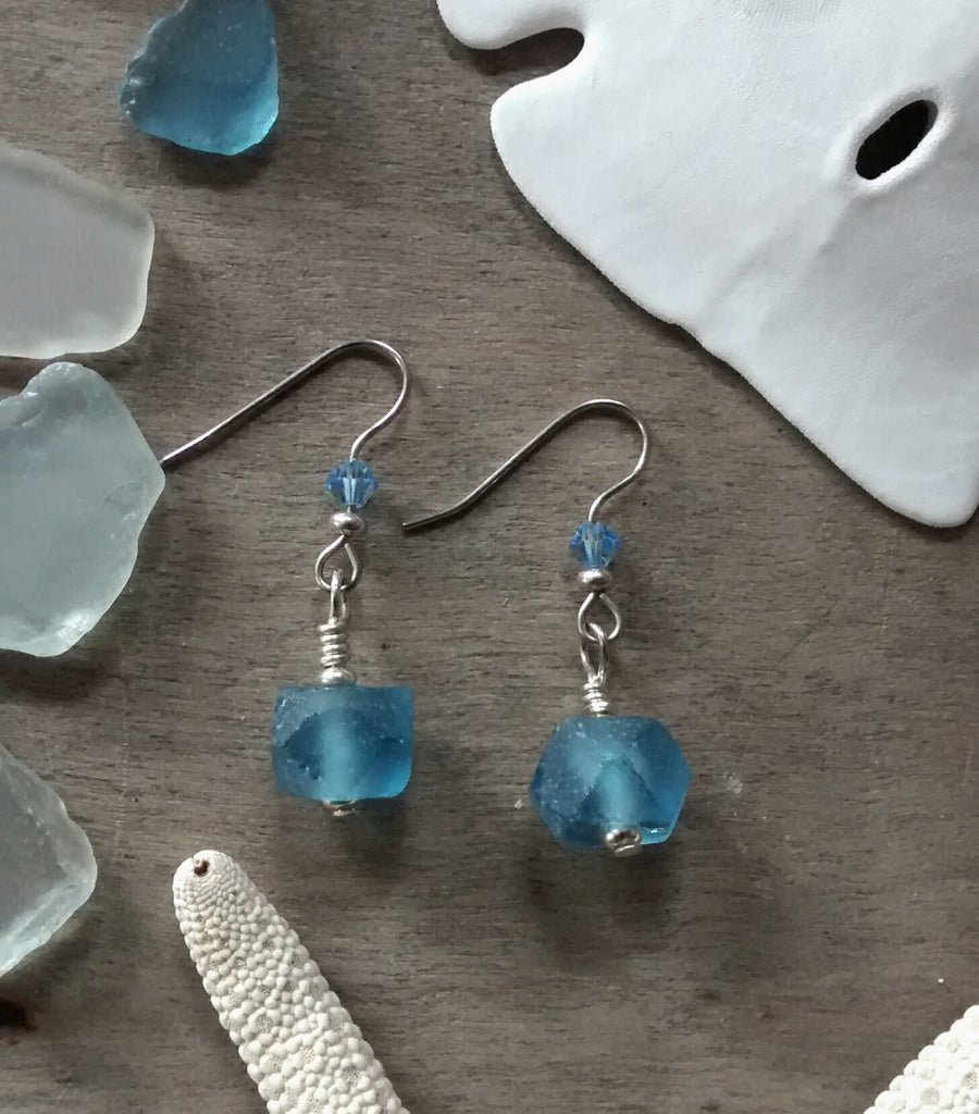 Simple Sea Blue Earrings