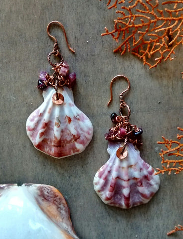 Amethyst Scallop Earrings