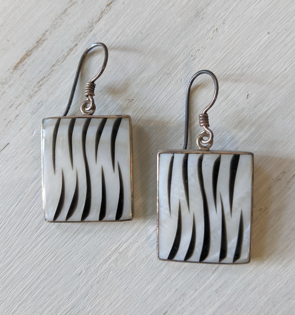 MOP Zebra Square Earrings