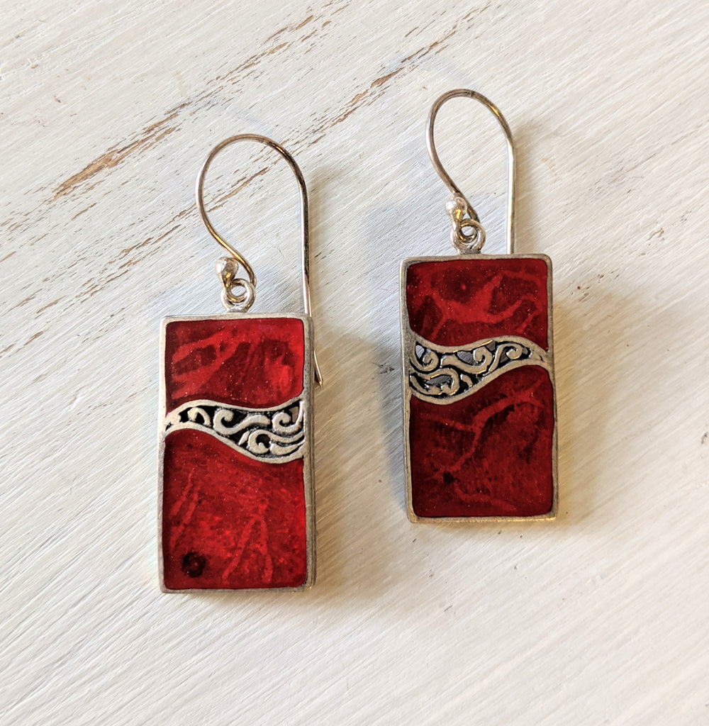 Red Coral Wave Earrings