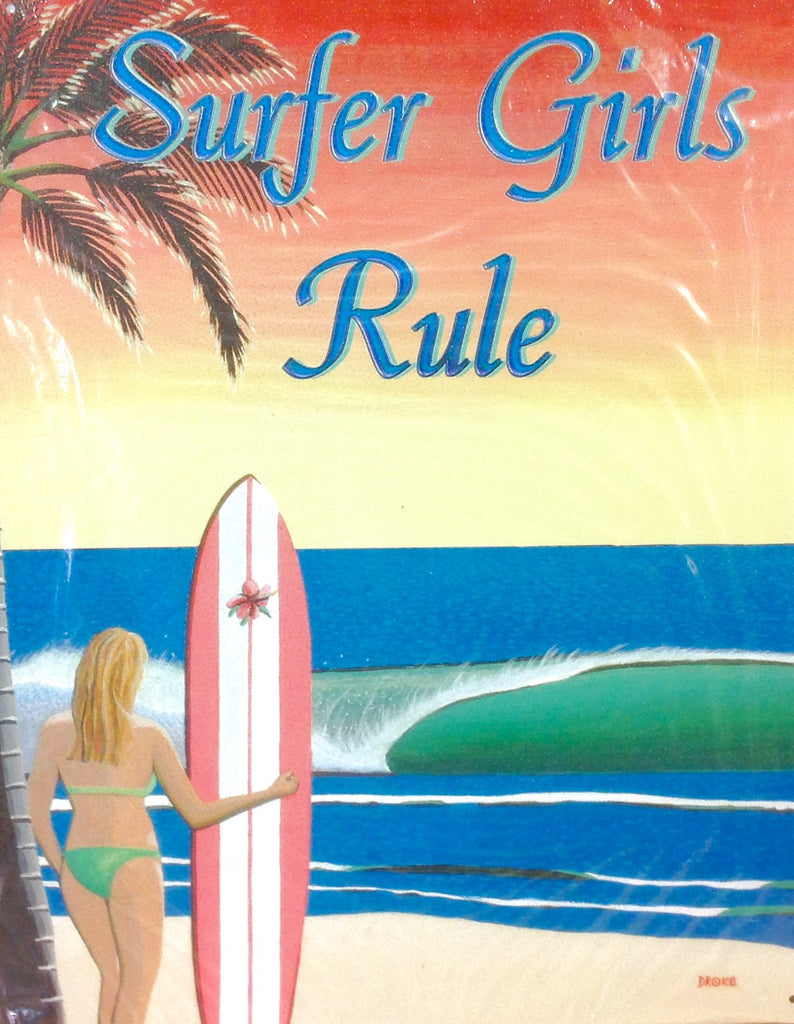 Surfer Girls Rule Tin Sign