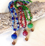 Sea Glass Buoy Beaded Necklace