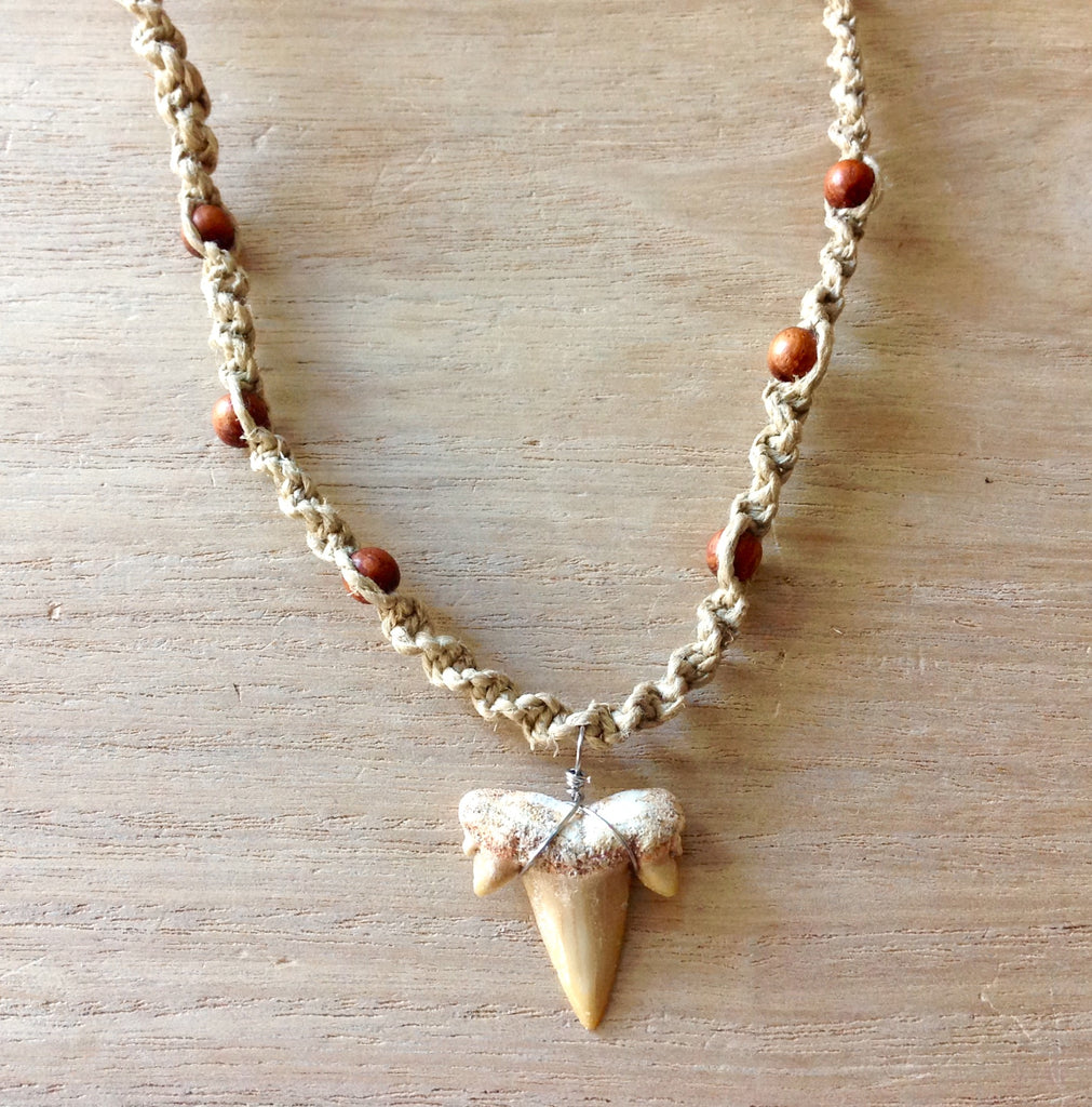 Hemp Shark Tooth Bead Necklace