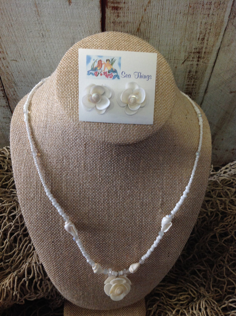 White Wedding Necklace & Earrings Set