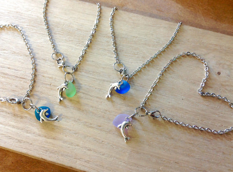 Dolphin Seaglass Charm Anklet