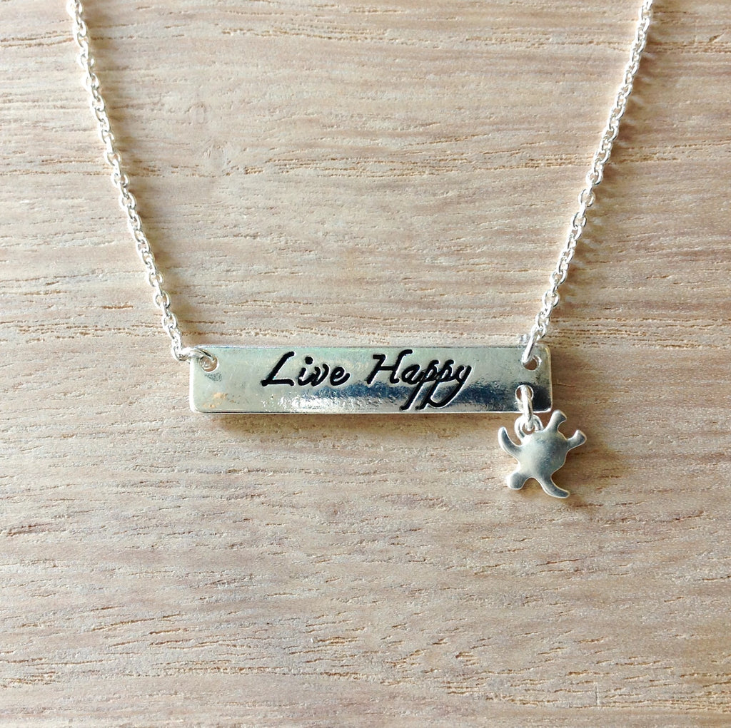 Live Happy Bar Necklace