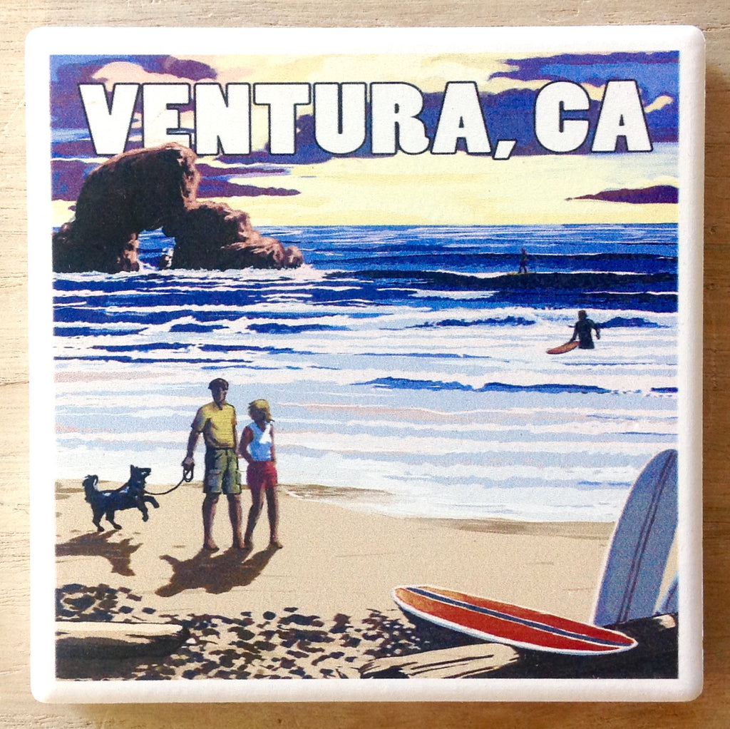 Surfing Beach Scene Coaster