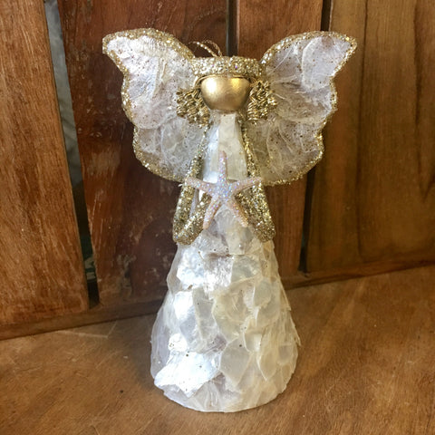 Capiz Golden Starfish Angel Ornament