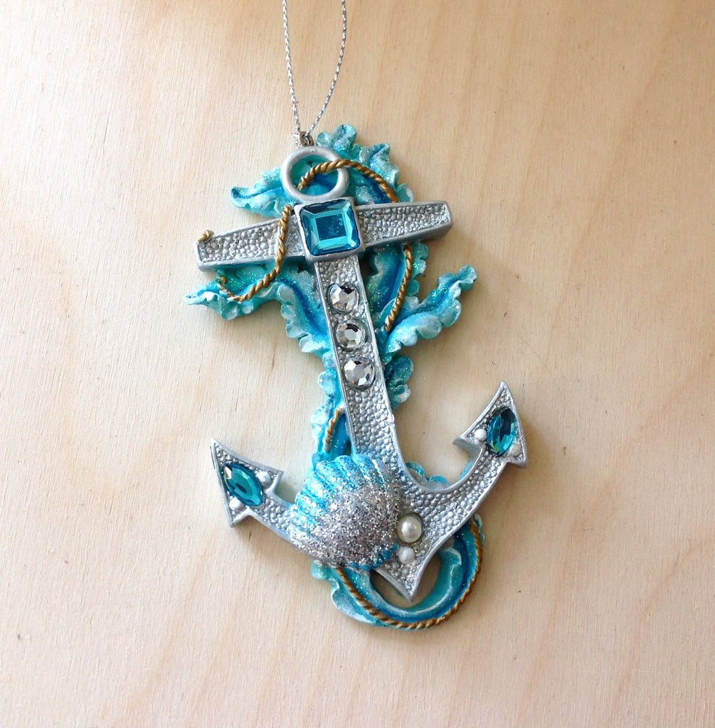 Blue Jewel Anchor Ornament