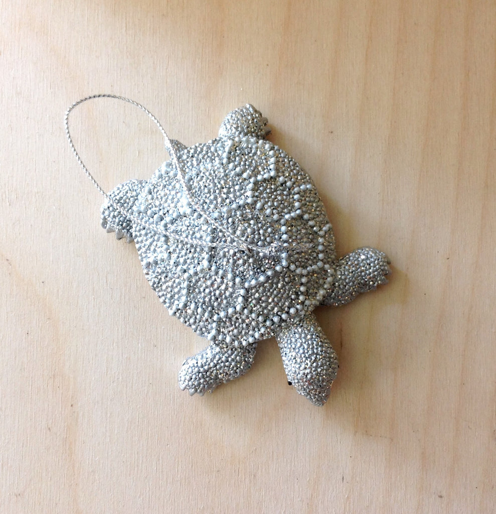 Silver Shimmer Turtle Ornament