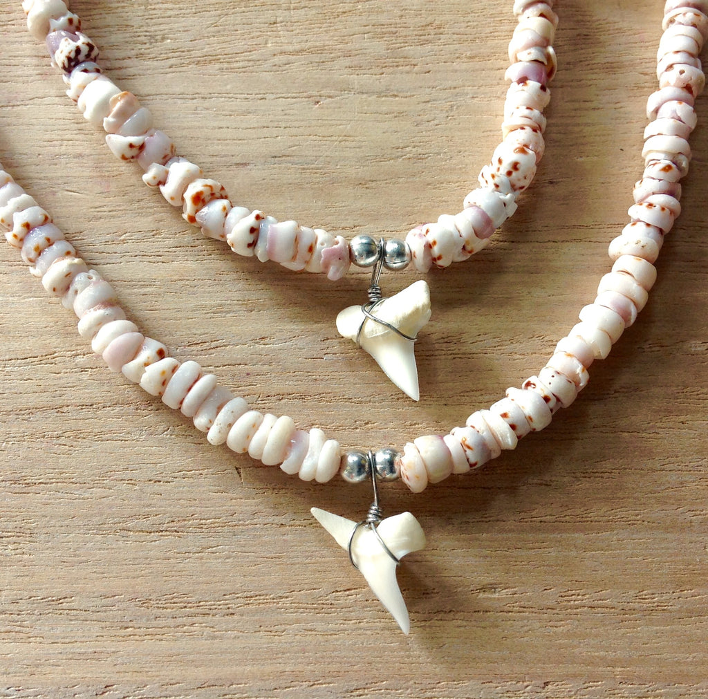 Natural Puka Shell Shark Tooth Necklace