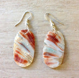 Red & Green Abalone Oval Earrings