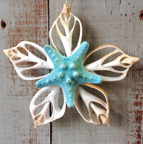 Double Bumpy Blue Star Ornament