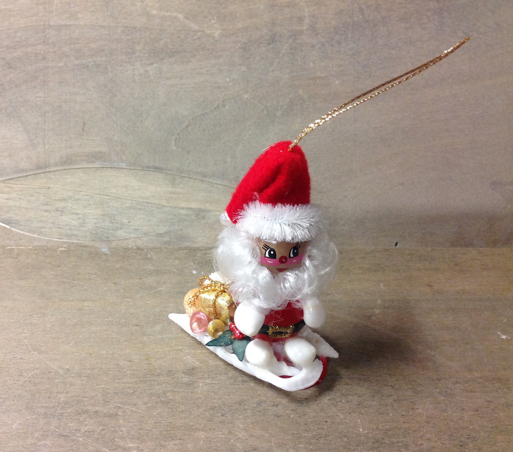 Santa Shell Sled Ornament