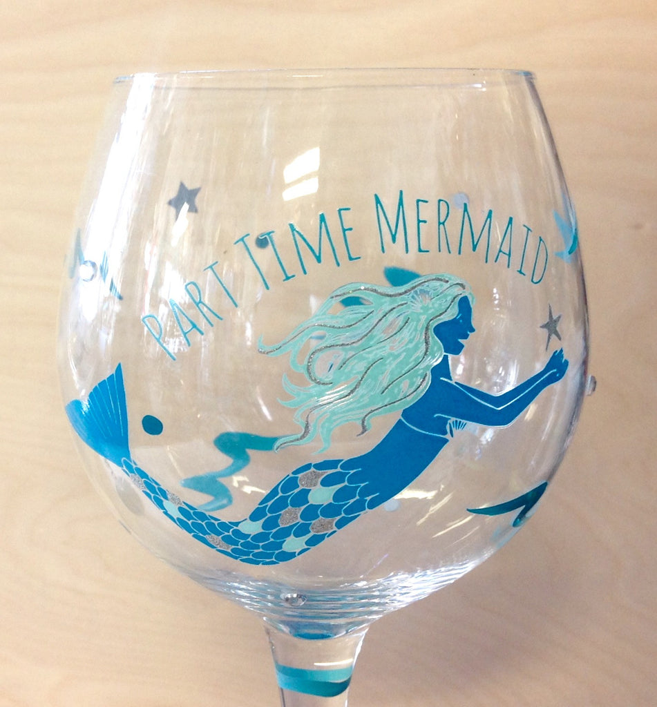 Party Time Mermaid Wine Glass