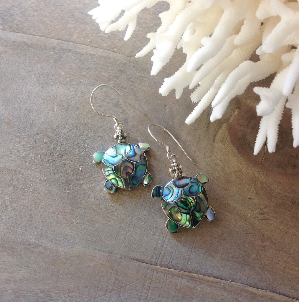 Sea Turtle Abalone Earrings