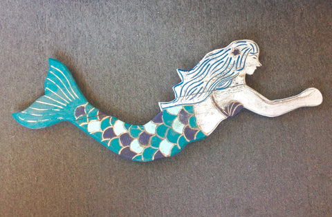Wooden Mermaid Painted Wall Art