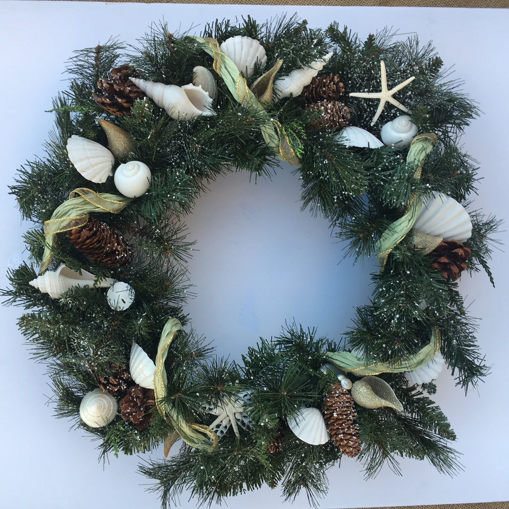 Christmas Green Seashell Wreath
