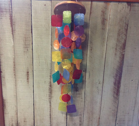 Colorful Capiz Geometric Windchime