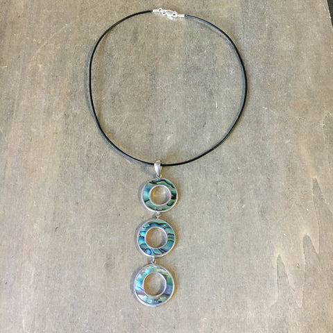 Abalone Triple Circle Necklace