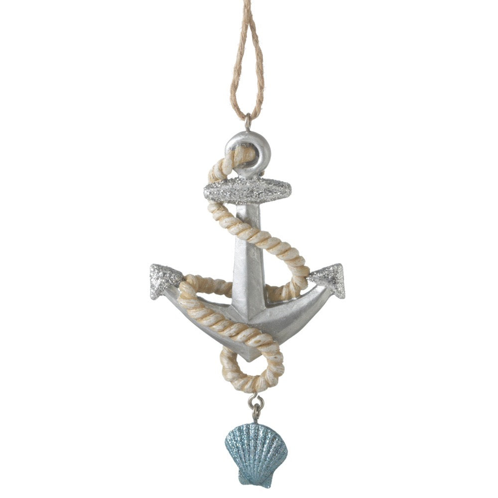 Anchor Scallop Ornament