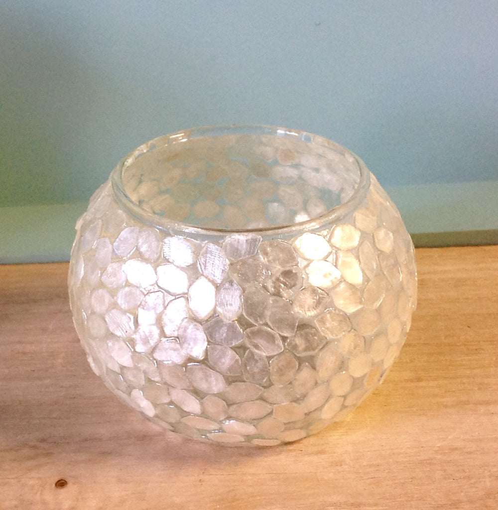 Capiz Glass Candle Holder