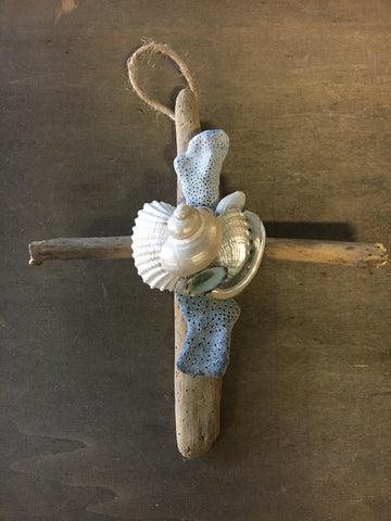 Blue Coral Cross Ornament