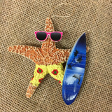 Starfish Surfer Ornament