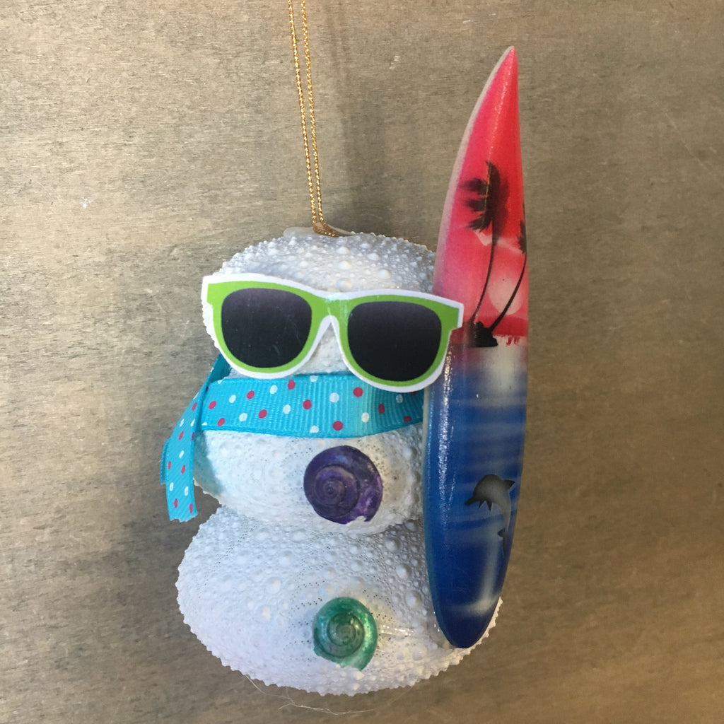 Surfer Sea Urchin Snowman Ornament