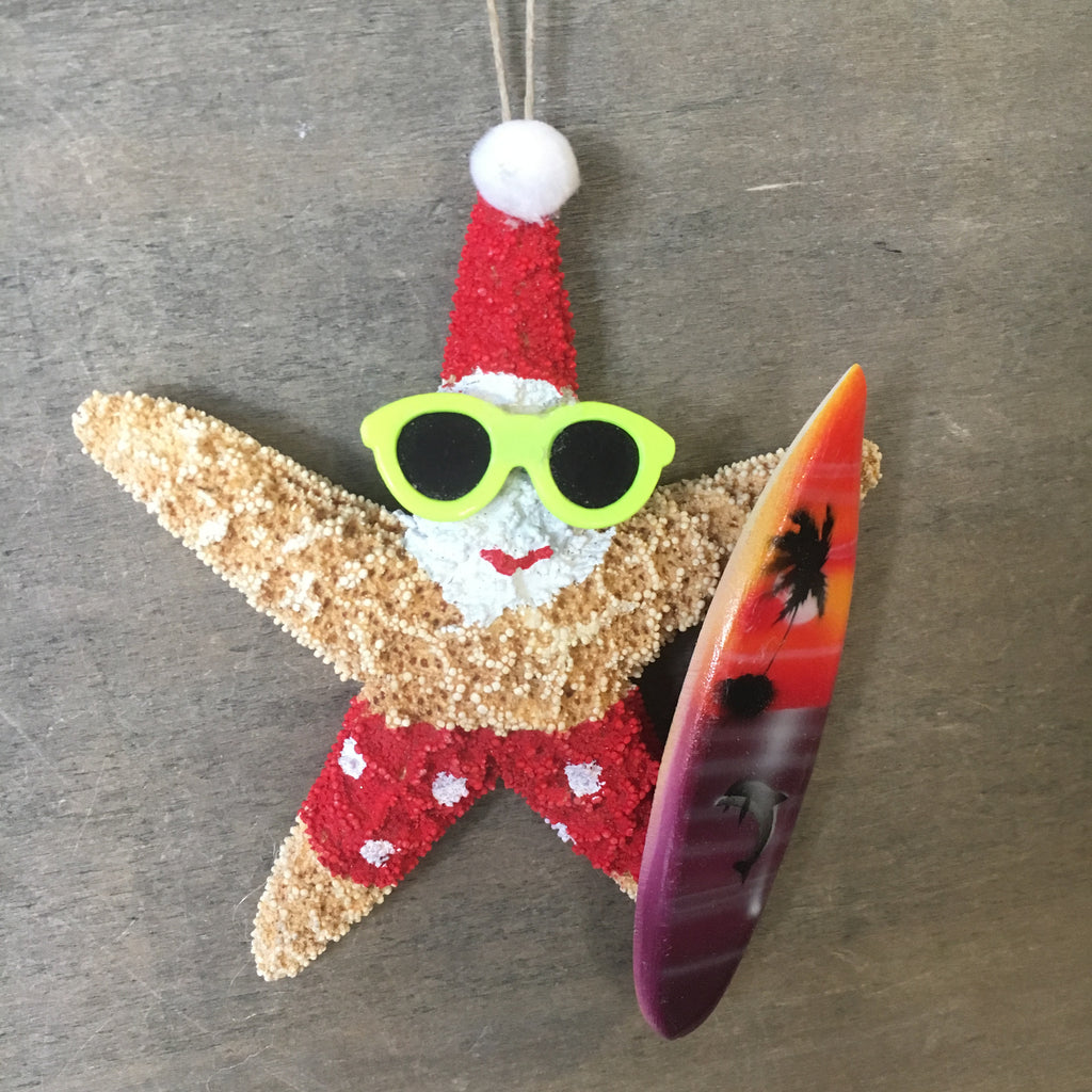 Surfer Santa Shades Starfish Ornament