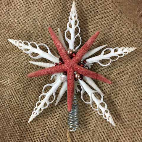 Red Seashell Star Tree Top