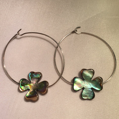 Abalone Clover Hoop Earrings