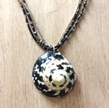 Black Turbo Shell Pendant Necklace