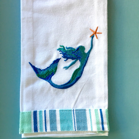 Mermaid Starfish Silhouette Towel