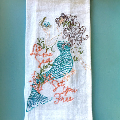 Sea Life Stitched Towel