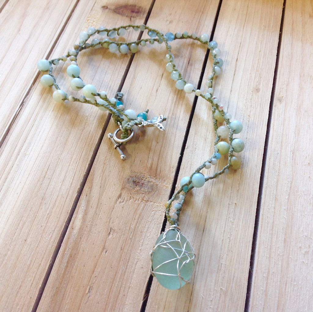 Sea Glass Aqua Marine Necklace