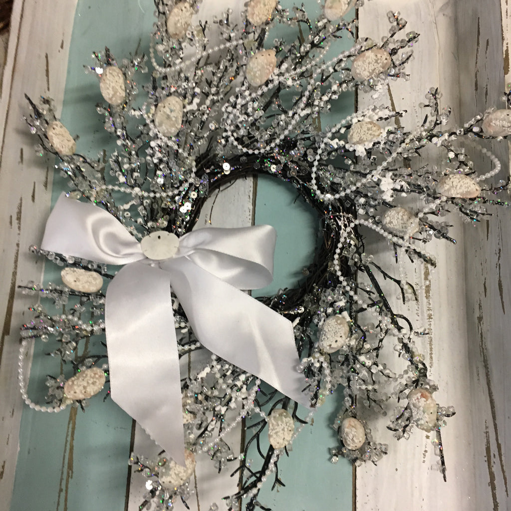 Abalone Bow Snowflake Wreath