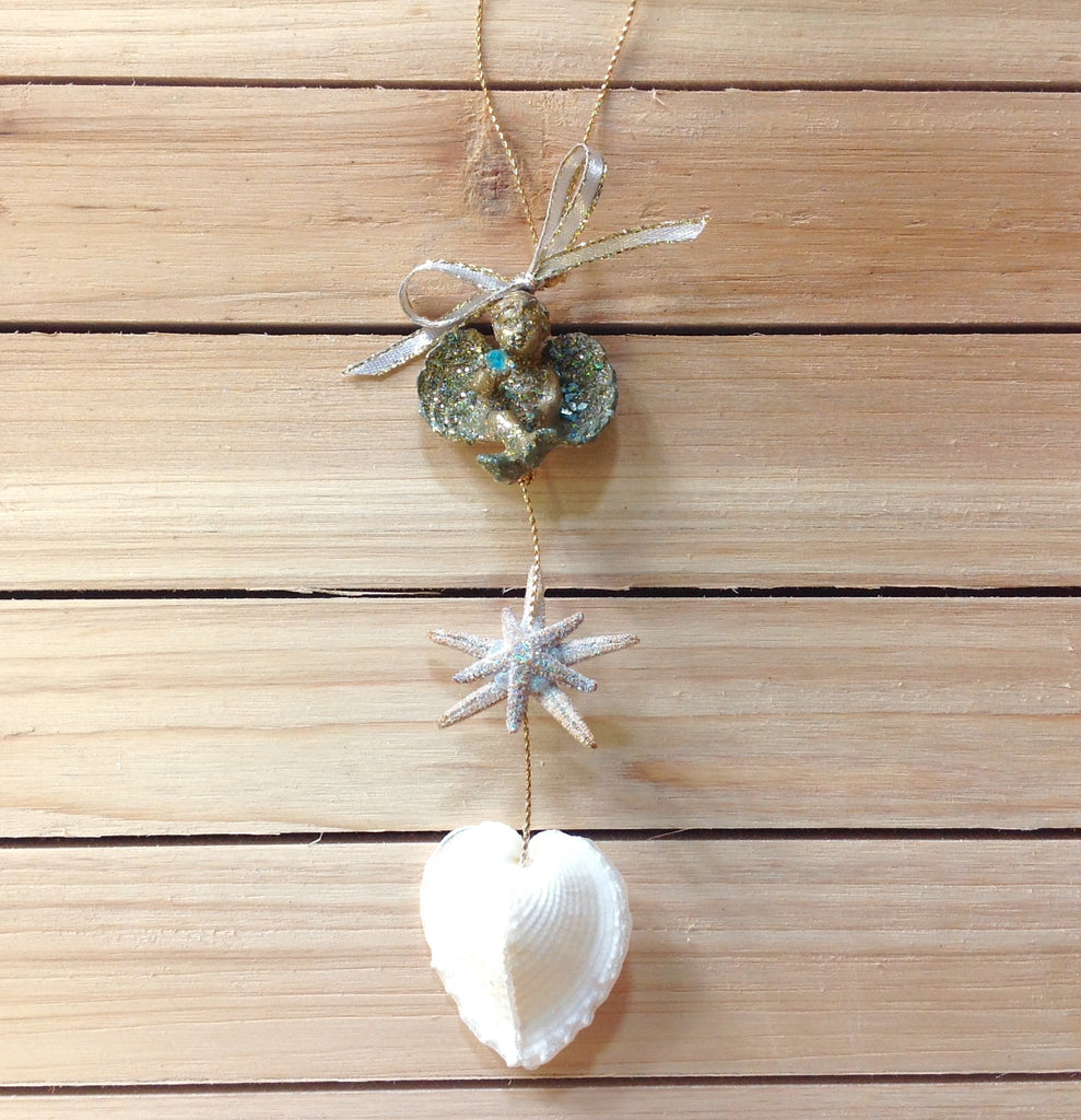 Cherub Starfish Heart Cockle Ornament