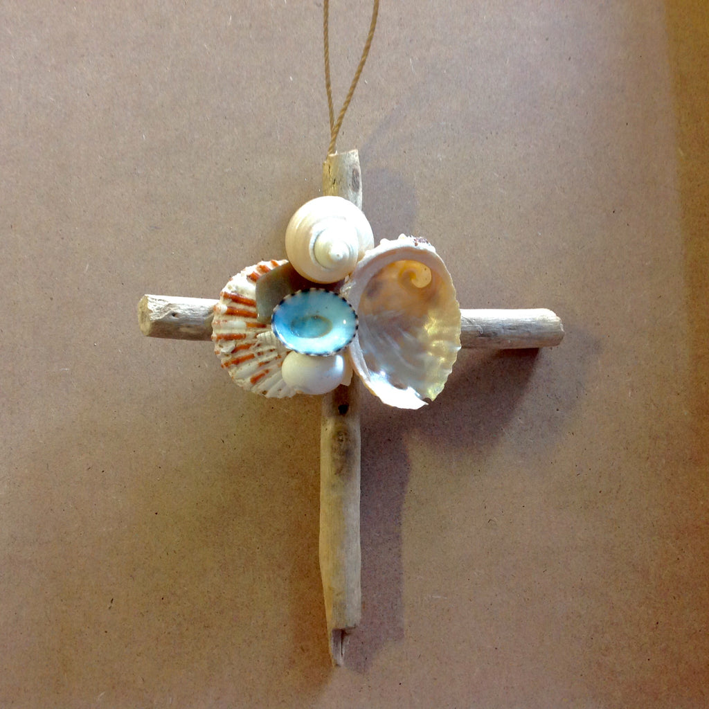 Seaglass & Seashell Cross Ornament