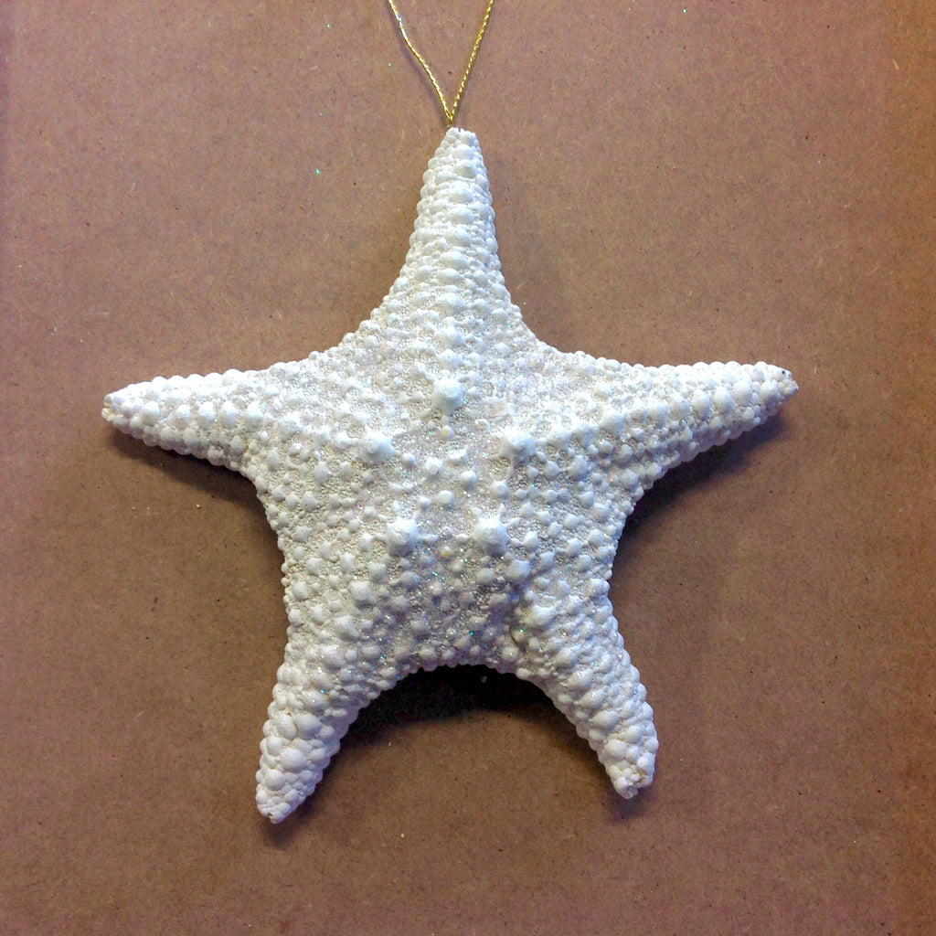Sparkling White Starfish Ornament