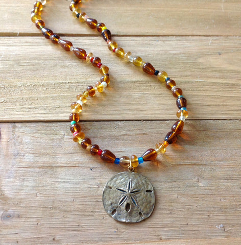 Sand Dollar Pendant Beaded Necklace