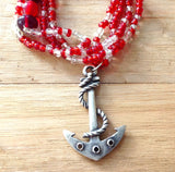 Anchor Pendant Beaded Necklaces