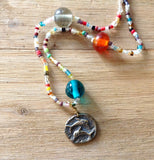 Dolphin Medallion Beaded Necklace