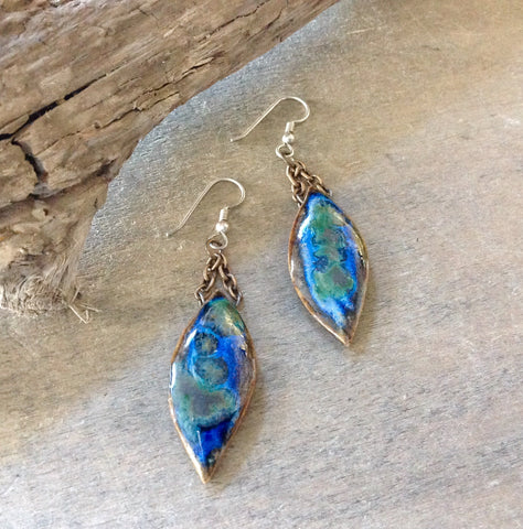 Artisan Ceramic Blue Leaf Earrings