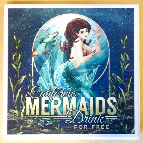 California Mermaids Drink Free Coaster