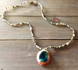 Cat Eye Shell Heishi Beaded Necklace