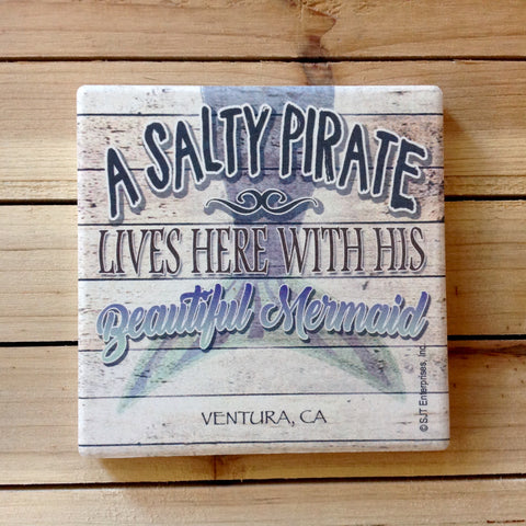 A Salty Pirate & His Beautiful Mermaid Coaster