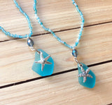 Blue Seaglass Starfish Necklace